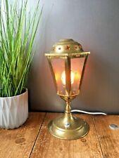 VINTAGE BRASS STREET LIGHT LANTERN NIGHT BEDSIDE LAMP RETRO TEXTURED GLASS STARS