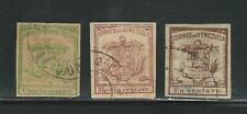 Venezuela: 1862; Scott 7 - 9  forged cancellations, fake stamps for study VE2409