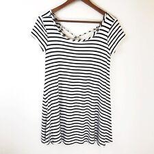 Socialite Sun Dress Small White Black Striped Short Trapeze Shift Summer Beach