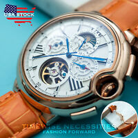 Mens Automatic Mechanical Watch Date Day Rose Gold White Dial Orange Deployant