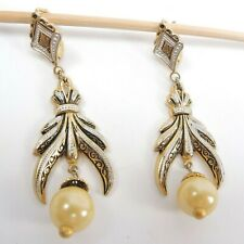 Vintage Spain Art Deco Style Damascene Pearl Gold Dangle Earrings French Clasp