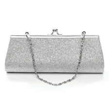 UK Women Glitter Silver Handbag Evening Bling Purse Clutch Bag With The Chain