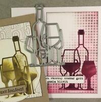 Wine Bottle Metal Cutting Dies Craft Dies Scrapbooking Card Making Album Stencil