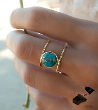 Vintage Jewelry Lady Gold Plated Round Turquoise Ring