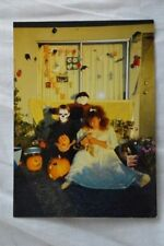 Unusual Vintage Photo Kids in Costume w/ Pumpkins 1990 Halloween 840