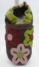 Weestep chaussons bébé cuir souple et suéde marron motifs fleurs  6-12 mois