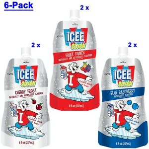 ICEE Slush Pouch 6 Count, 8oz Each - Cherry Frost, Fruit Punch, Blue Raspberry