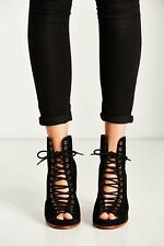 Jeffrey Campbell Black Suede Lace Up FreeLove Heels Size 6.5 New