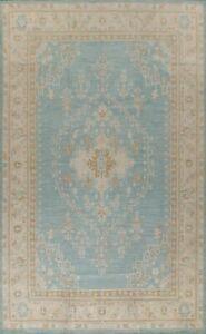 Geometric Oushak Turkish Oriental Area Rug Hand-knotted Wool Blue Carpet 10x14