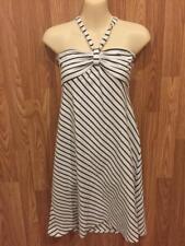 Ann Taylor Loft Women's size L White with Black Striped Halter Dress