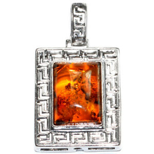 4.8g Authentic Baltic Amber 925 Sterling Silver Pendant Jewelry N-A1811