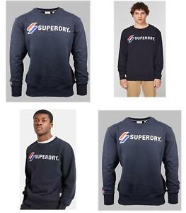 Superdry Mens Sports Applique Crew Sweatshirt Fleece Sweat Navy Pullover