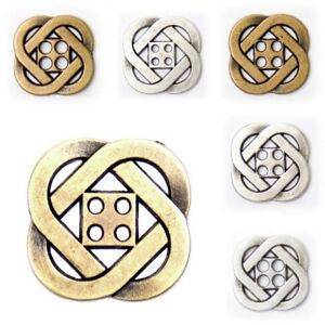 Metal Buttons in Brass Or Silver Colour - 3 sizes - 2 Finishes - Free UK Postage