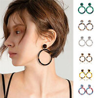 Vintage Women Acrylic Hollow Circle Geometric Dangle Statement Earrings Jewelry