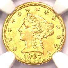 1907 Liberty Gold Quarter Eagle $2.50 Coin - NGC MS61 (BU UNC) - Rare Coin!