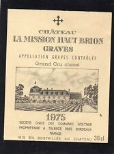 GRAVES 1ER GCC VIEILLE ETIQUETTE CHATEAU LA MISSION HAUT BRION 1975 36 CL§01/02§