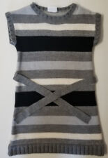 Crazy 8 Girls' Striped Belted Sweater Dress Grey Blk and White Sz 5/6 EUC