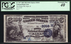 $100 1882 Date Back Home National Bank of Elgin, Illinois SUPER RARE AND FINEST