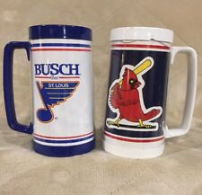 VTG Lot St Louis Cardinals & Blues Plastic Thermo Serv Mugs Stein Busch MLB NHL