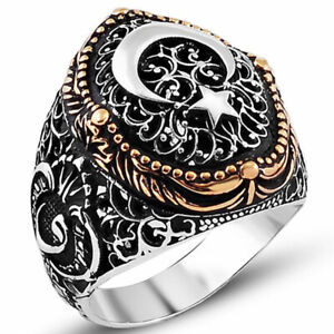Solid 925 Sterling Silver Vav Design Crescent Moon Star Men's Ring