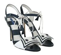 NEW $800 DOLCE & GABBANA Shoes Blue White Leather Sandals MARINA s. EU40 /US9.5