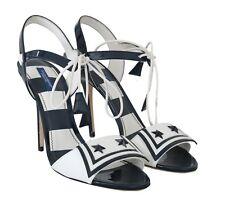 NEW $800 DOLCE & GABBANA Shoes Blue White Leather Sandals MARINA s. EU41 /US10.5