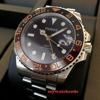 40mm PARNIS black dial ceramic bezel Sapphire glass GMT automatic mens watch