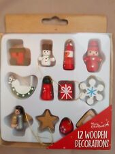 Mini Wooden Christmas Decoration 12 Pack Boxed New