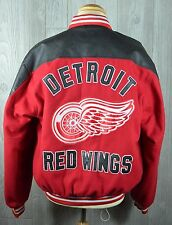 Detroit Red Wings Varsity Jacket Sewn Quilted Snap Front Men's L/XL