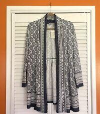 3X NEW DALIA Blue & White Long Cardigan Sweater Coat Duster 2X