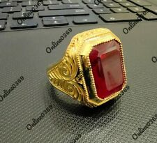 Garnet New Style Ring Over 925 Silver 14k Yellow Gold Plated Men's 4 ct Red