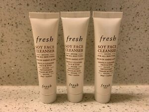 fresh SOY FACE CLEANSER TRAVEL SIZE .6 fl. oz. / 20 mL each LOT OF 3 NEW