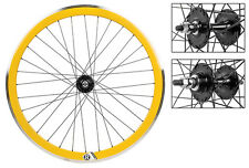 Origin8 Yellow 32h Track Bike Fixed Gear Aero Wheelset 42mm DT