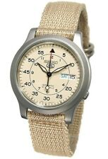 SEIKO 5 SNK803K2 AUTOMATIC military WATCH (CAL.7S26C) Beige face nylon strap