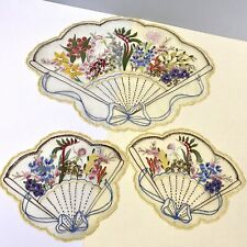 vintage handpainted 3D textured Floral Linens, scallop shell Handfans design x3