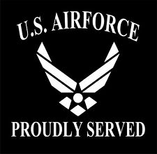 U.S. Air Force Proudly Served Military Vinyl Decal Sticker Car Truck Window