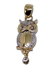 Owl with CZ Pendant 18k Gold Plated Owl Charm Pendant - Buho - Good Luck