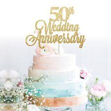 Custom Cake Topper 50th wedding anniversary Glitter Personalised Customised Name