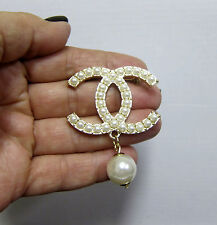 CHANEL Gold Tone  PEARL PIN BROOCH