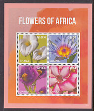 Ghana: Flowers of Africa, unmounted miniature sheet, 2016