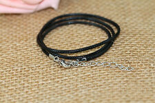 5PCs 45cm Black Wax Leather Necklace Beading Cord String Rope Alloy Chain