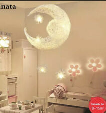 Design Moon Stars Hanging Light Ceiling Light Nursery Lamp Modern Silver