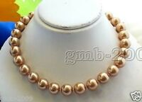 """Rare Natural 10mm Champagne South Sea Shell Pearl Round Gemstone Necklace 18""""AAA"""
