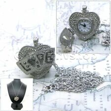 Silver Heart Women Pendant Watch Locket Marcasite Pewter with Necklace Gift  L03