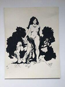 Original Vintage 1978 George W. Proctor Sci-Fi Fantasy Signed Drawing Frazetta