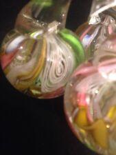 Bunch 3 Cherries Ribbon Latticino Art Glass Italian Murano Paperweight Barbini