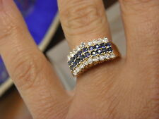 Diamonds & Blue Sapphires Ring in 14K Yellow Gold Sz 6.25