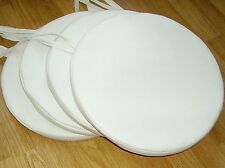 """4 x Bistro Round Dining Garden Chair Cushions Seat Pads White Faux Leather 14 ½"""""""