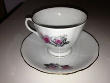 Vintage Chinese Tea Cup and Saucer Pink Roses Gold Accents 1970s