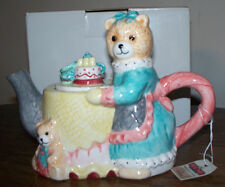 "TEA NEE Collectible Teddy Tea Pot by Cardinal - ""High Tea"" - NWT!"